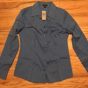 Ann Taylor Blue Dress Shirt Petite NWT